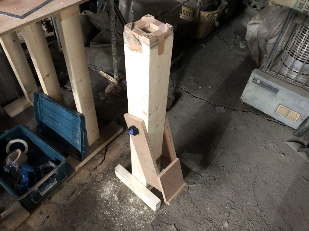 ハンドパン製作 ディンプル打ち台 収納時
