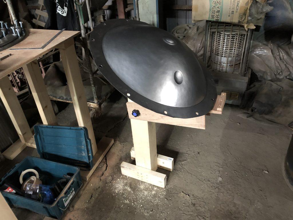 ハンドパン製作 ディンプル打ち台